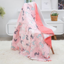 Load image into Gallery viewer, Soft Breathable 2019 New 100% Cotton Cartoon Baby Blanket Beanie Kids Quilt Peas Blanket For Pram Baby Carriage Stroller Covers