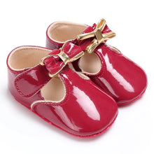 Load image into Gallery viewer, Newborn Baby Girls Shoes PU leather Buckle First Walkers With Bow Red Black Pink White Soft Soled Non-slip Crib Shoes