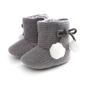 Cute Autumn Winter Infants Shoes Baby Girl Boy Polka Dot Knitting Boots Casual Sneakers Non-slip Soft Soled Walking Shoes