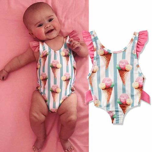 1-4 Years Baby Girls Swimwear Infant Kids Baby Girls Ice Cream Print Swimsuit For Girls Swimwear Swimming Children Bathing Suit