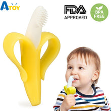 Load image into Gallery viewer, Safe Baby Teether Toys Toddle BPA Free Banana Teething Ring Silicone Chew Dental Care Toothbrush Nursing Beads Gift For Infant
