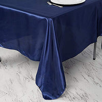 BalsaCircle 5 pcs 72x72 inch Navy Blue Square Tablecloth Satin Table Overlays Linens for Wedding Table Cloth Party Reception Events Kitchen Dining
