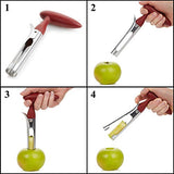 Bright Kitchen APPCORER Apple Corer Lever Tool Stainless Steel Pear Fruit Seed Remover Cherry Red Grip with Serrated Blade, XL,