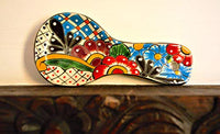 Colorful Kitchen Ceramic Spoon Rest - Hand Painted - Mexican Style Cuchara (Multicolor)