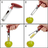 2 PACK - Apple Corer Lever Tool by BRIGHT KITCHEN Stainless Steel Pear Fruit Seed Remover Cherry Red Grip with Serrated Blade