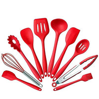 BonBon 10Pcs/Set Silicone Heat Resistant Kitchen Cooking Utensils Non-Stick Baking Tool Tongs ladle Gadget (Red)