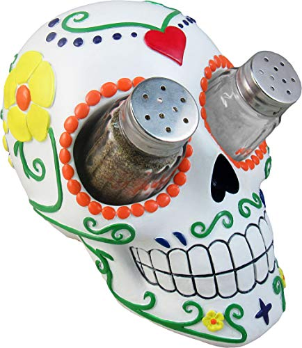 DWK - Sugar 'N' Spice - Day of The Dead Hand-Painted Sugar Skull Figurine Salt & Pepper Shaker Holder Dia de Los Muertos Home Décor Kitchen Accessory Dining Accent 3-Piece Set, 7-inch