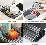 Collapsible Dish Drainer Portable Drying Rack Dinnerware Organizer Kitchen RV Campers Storage (Black)