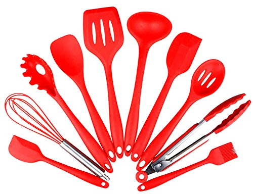 AMLINKER Silicone Heat Resistant Kitchen Cooking Utensil 10 Piece Cooking Set Non-Stick Kitchen Tools (Red)