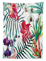 "Ambesonne Watercolor Flower Tablecloth, Tropical Wild Orchid Flowers with Palm Leaves Print Exotic Style Nature, Dining Room Kitchen Rectangular Table Cover, 60"" X 84"", Green Red"