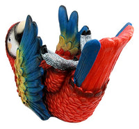 "Ebros Gift Tropical Rio Rainforest Red Scarlet Macaw Parrot Wine Bottle Holder Caddy Figurine 10.25"" Long Kitchen Dining Party Hosting Decor Statue of South American Evergreen Forest Birds"