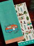 Design Imports DII Happy Camper How We Roll Dish Towels - Set of 2 - Camper Embellished - Campsite Printed