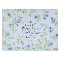 Christian Art Gifts Tempered Glass Cutting Board Tray/Trivet | A Sweet Friendship – Proverbs 27:9 Bible Verse | Bird & Blue Floral Inspirational Home and Kitchen Décor
