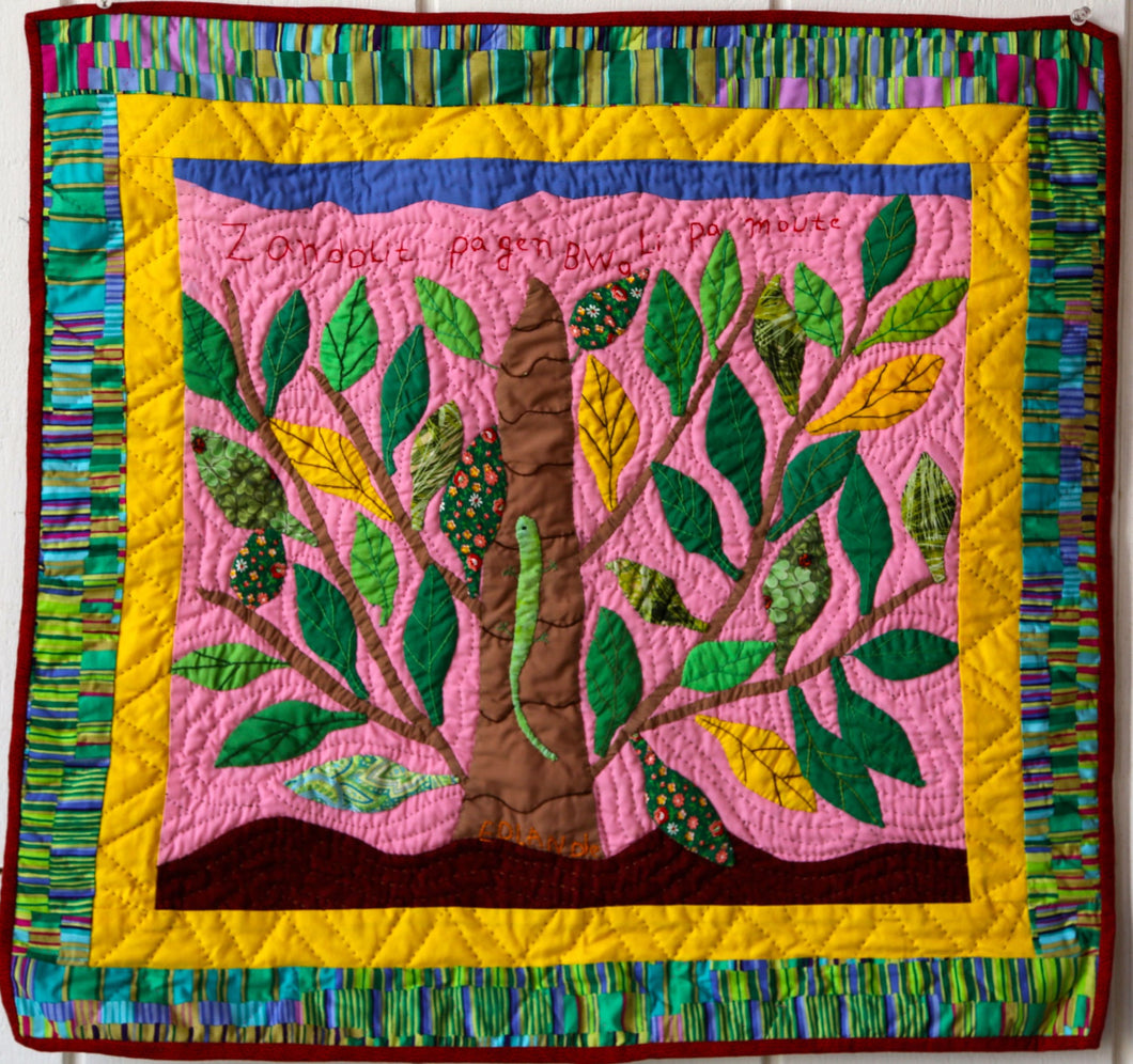 If the Lizard Doesn't Have a Tree, He Cannot Climb Up - folk art quilt