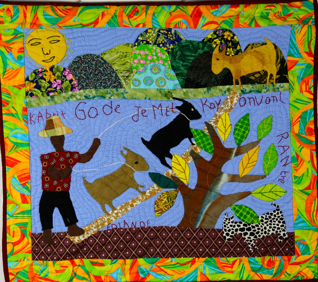 Goats Look to Their Owner Before Wandering - folk art quilt