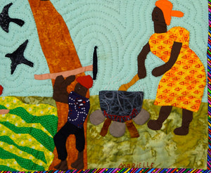 The Peasants in Trouble - Peyizan yo nan pwoblem - folk art quilt