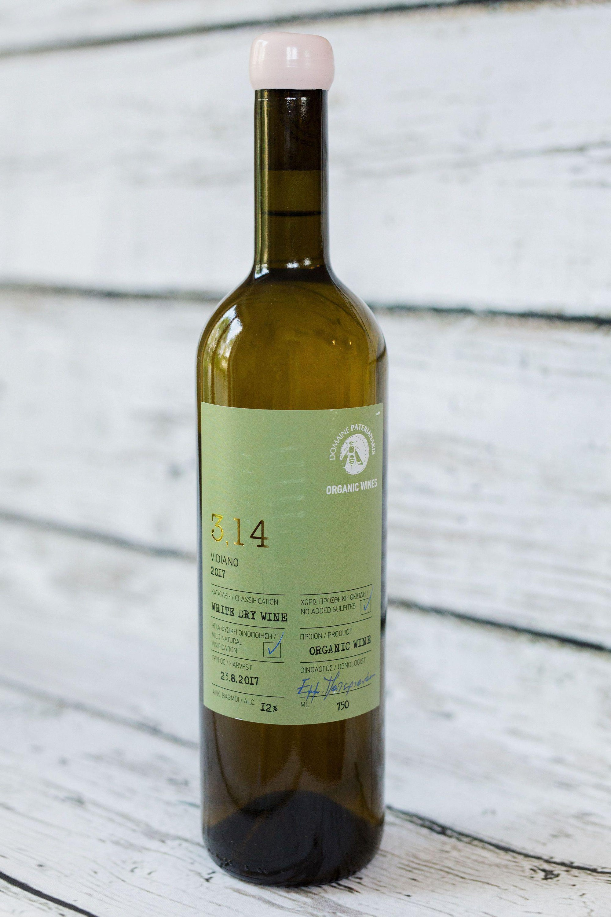 750ml green wine bottle of 3.14 Vidiano white wine from Domain Paterianakis with green label and cork with white wax seal