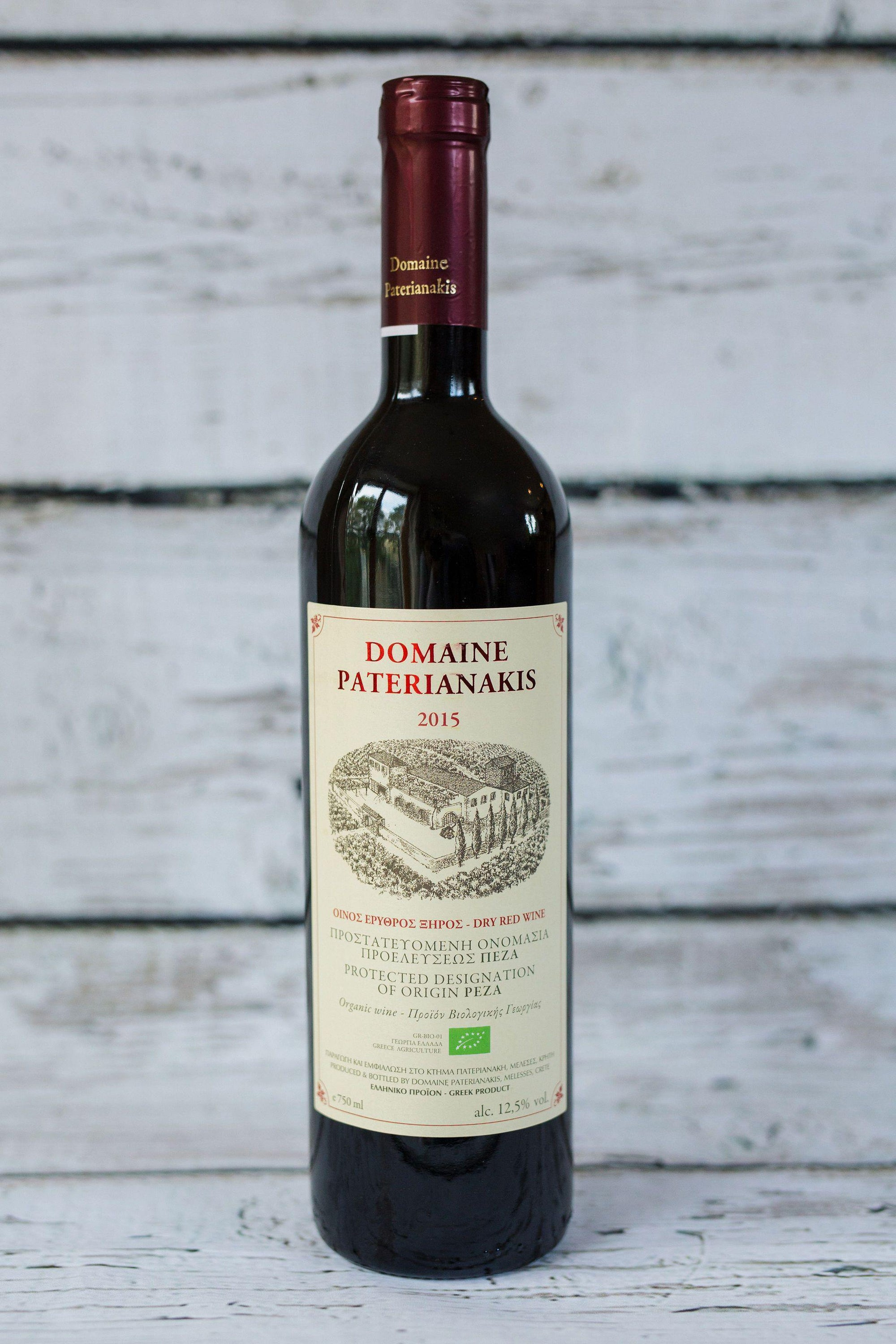 750ml brown wine bottle of red wine from Domain Paterianakis with front label, cork with foil cap