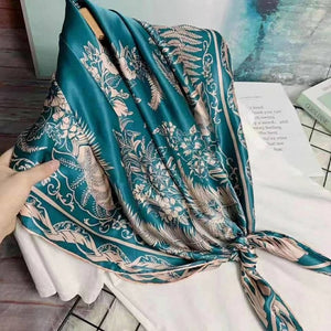 [BYSIF] Navy Blue Silk Scarf Cape Ladies New Brand 100% Silk Square Scarves Wraps Spring Autumn Elegant Scarf Shawl 110*110cm