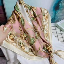 Load image into Gallery viewer, [BYSIF] Navy Blue Silk Scarf Cape Ladies New Brand 100% Silk Square Scarves Wraps Spring Autumn Elegant Scarf Shawl 110*110cm
