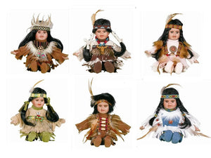 "8"" Porcelain Indian Doll ""Little Cubs"" (Set Of 12, 6 Asst'd) D08625K"