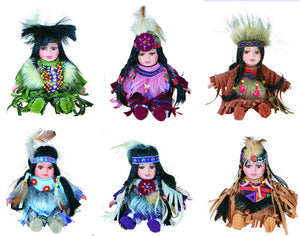 "8"" Porcelain Indian Doll ""Little Cubs"" (Set Of 12, 6 Asst'd) D08706K"