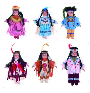 "10"" Porcelain Indian Doll, Little Cubs(Set Of 6 Asst'd)D10738K"
