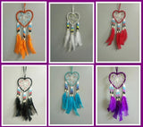 "4""W HEART SHAPE DREAMCATCHER(SET OF 6 COLORS ASST'D) DC04231K"