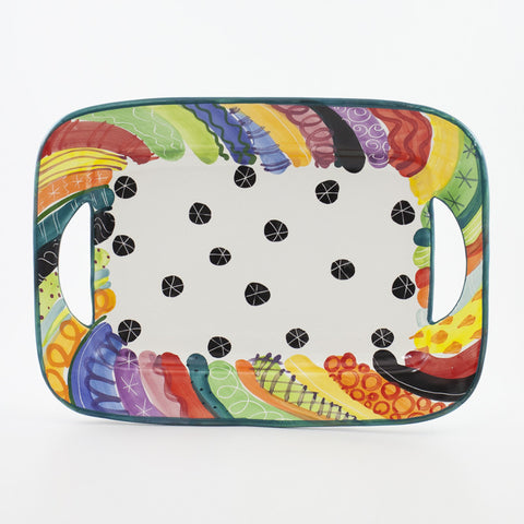 Cut Out Handle Rectangle Platter