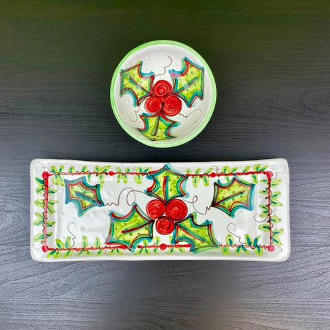 Retro Holly Bread Tray