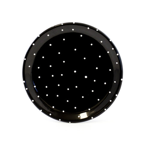 Black with White Dots 8 inch Plate
