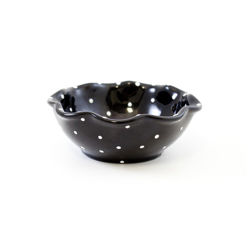 Black with White Dots Dessert Bowl