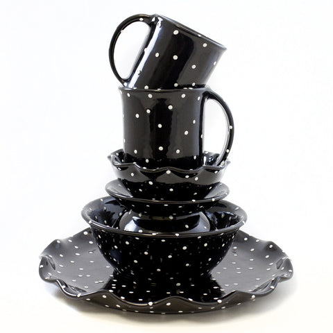 Black with White Dots Bread Tray