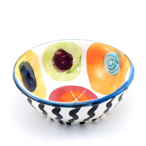 Candy with Bright Blue Rim Dessert Bowl