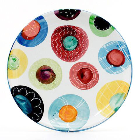 Candy with Bright Blue Rim 12 inch Plate