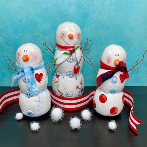 Blue Button 3d Snowmen