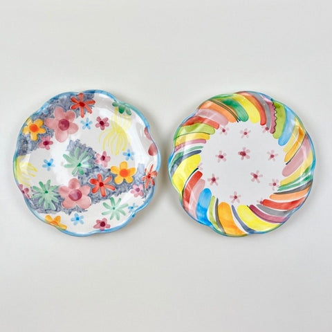 "Soft Stripe - Soft Floral 8"" Plate"