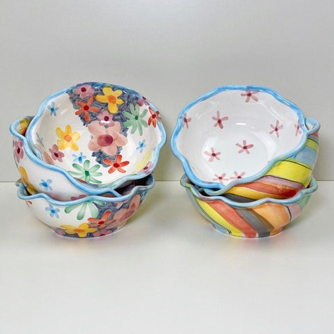 Soft Stripe - Soft Floral Dessert Bowl