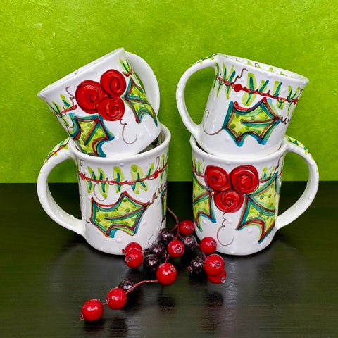 Retro Holly Mugs
