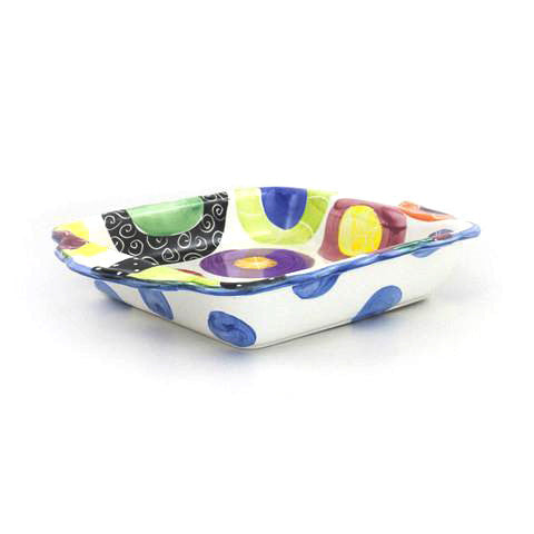 Candy with Bright Blue Rim Square Baker