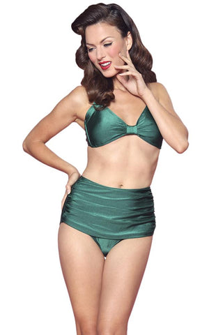 416a0de28cc90 Esther Williams Retro High Waisted Solid Two-Piece Swimsuit Bottom E09001P  - Green
