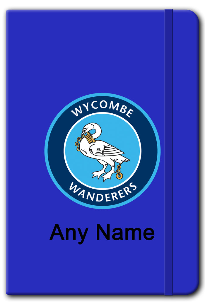 Personalised Wycombe Wanderers FC Logo A5 Soft Touch Notebook