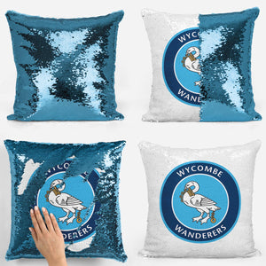 Wycombe Wanderers FC Logo Magic Sequin Cushion