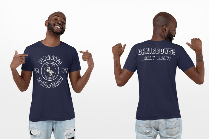 Play Off Chairboys/Barmy Army Navy Blue T-Shirt Front & Back - Limited Edition
