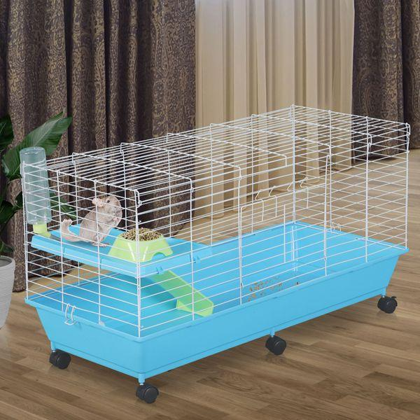 PawHut Small Animal Pet Cage Rolling with Essentials