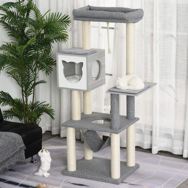 PawHut Plush Cat Tree Activity Center w/ Sisal Posts Hammock Perch Condo Cushions