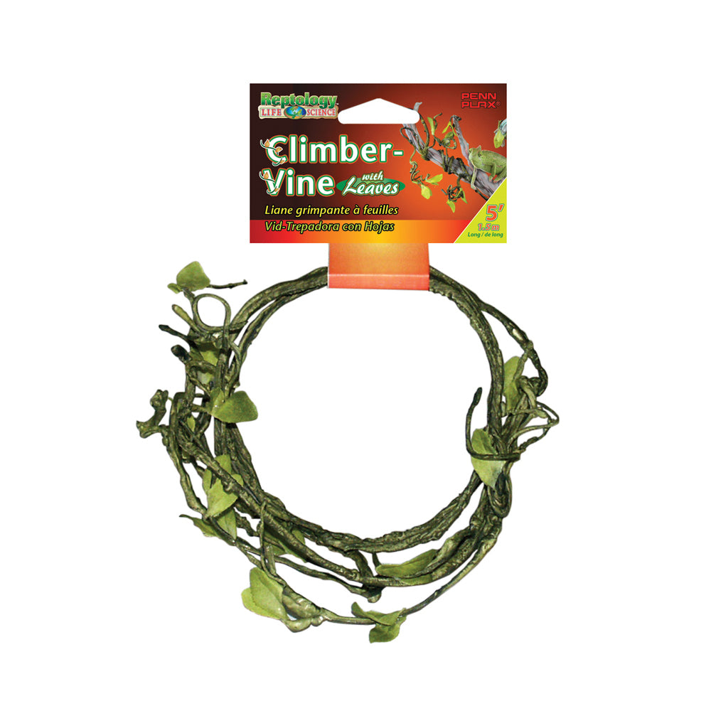 Penn Plax Climbing Vine with Leaves 1/4 inch Diameter 5 Foot