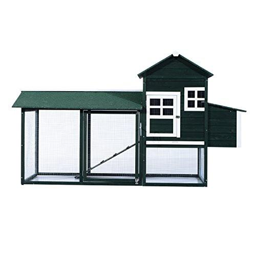 Pawhut Wooden Backyard Poultry Hen House Chicken Coop - Green