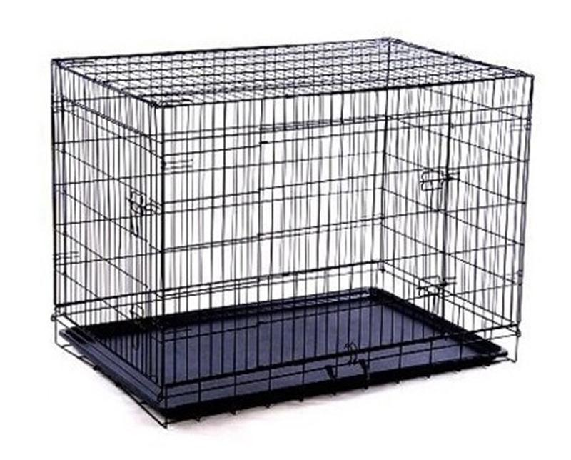 "PawHut Pet 42"" 2-Door Folding Dog Crate - Easy Set-Up - Black Steel"