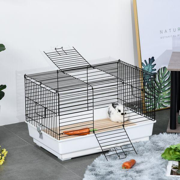PawHut Small Animal Cage Habitat Pet Play House for Small Rabbit Bunny Guinea Pig Pet Mink Chinchilla with Sliding-out Tray Bottom Wood Board White and Black